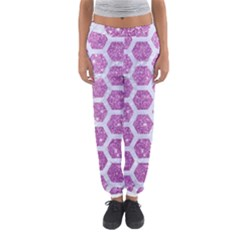 Hexagon2 White Marble & Purple Glitter Women s Jogger Sweatpants by trendistuff
