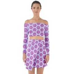 Hexagon2 White Marble & Purple Glitter Off Shoulder Top With Skirt Set