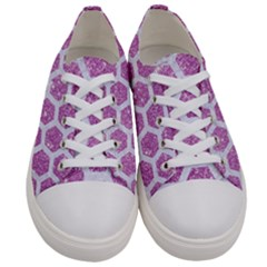 Hexagon2 White Marble & Purple Glitter Women s Low Top Canvas Sneakers