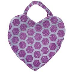 Hexagon2 White Marble & Purple Glitter Giant Heart Shaped Tote