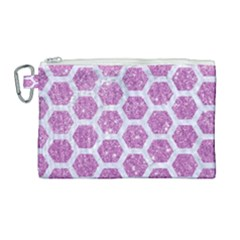 Hexagon2 White Marble & Purple Glitter Canvas Cosmetic Bag (large)