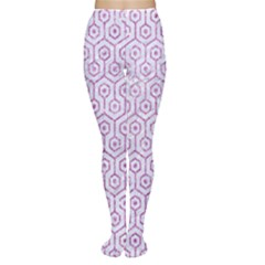 Hexagon1 White Marble & Purple Glitter (r) Women s Tights by trendistuff