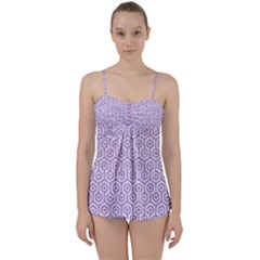 Hexagon1 White Marble & Purple Glitter (r) Babydoll Tankini Set