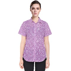 Hexagon1 White Marble & Purple Glitter Women s Short Sleeve Shirt