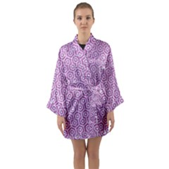 Hexagon1 White Marble & Purple Glitter Long Sleeve Kimono Robe