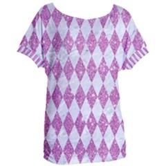 Diamond1 White Marble & Purple Glitter Women s Oversized Tee