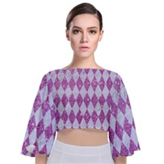 Diamond1 White Marble & Purple Glitter Tie Back Butterfly Sleeve Chiffon Top