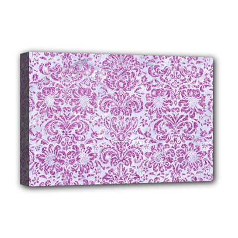 Damask2 White Marble & Purple Glitter (r) Deluxe Canvas 18  X 12   by trendistuff