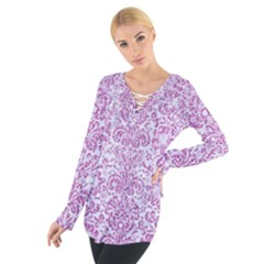 Damask2 White Marble & Purple Glitter (r) Tie Up Tee