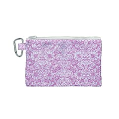 Damask2 White Marble & Purple Glitter Canvas Cosmetic Bag (small)