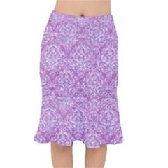 Damask1 White Marble & Purple Glitter Mermaid Skirt