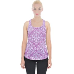 Damask1 White Marble & Purple Glitter Piece Up Tank Top