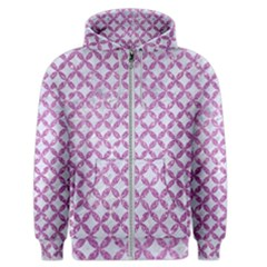 Circles3 White Marble & Purple Glitter (r) Men s Zipper Hoodie
