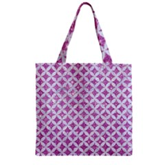 Circles3 White Marble & Purple Glitter Zipper Grocery Tote Bag