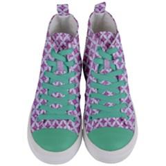 Circles3 White Marble & Purple Glitter Women s Mid Top Canvas Sneakers
