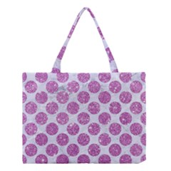 Circles2 White Marble & Purple Glitter (r) Medium Tote Bag by trendistuff