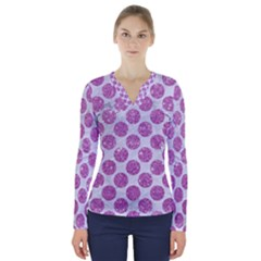 Circles2 White Marble & Purple Glitter (r) V Neck Long Sleeve Top
