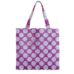 Circles2 White Marble & Purple Glitter Zipper Grocery Tote Bag