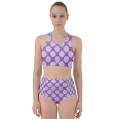 Circles2 White Marble & Purple Glitter Racer Back Bikini Set