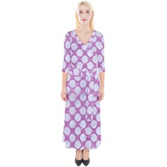 Circles2 White Marble & Purple Glitter Quarter Sleeve Wrap Maxi Dress