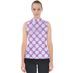 Circles2 White Marble & Purple Glitter Shell Top