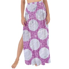 Circles2 White Marble & Purple Glitter Maxi Chiffon Tie Up Sarong