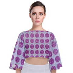 Circles1 White Marble & Purple Glitter (r) Tie Back Butterfly Sleeve Chiffon Top