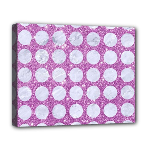 Circles1 White Marble & Purple Glitter Deluxe Canvas 20  X 16