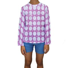 Circles1 White Marble & Purple Glitter Kids  Long Sleeve Swimwear