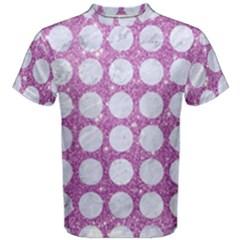 Circles1 White Marble & Purple Glitter Men s Cotton Tee