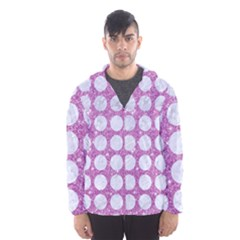 Circles1 White Marble & Purple Glitter Hooded Wind Breaker (men)