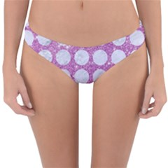 Circles1 White Marble & Purple Glitter Reversible Hipster Bikini Bottoms
