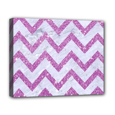 Chevron9 White Marble & Purple Glitter (r) Deluxe Canvas 20  X 16