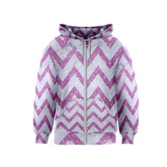 Chevron9 White Marble & Purple Glitter (r) Kids  Zipper Hoodie
