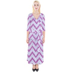 Chevron9 White Marble & Purple Glitter (r) Quarter Sleeve Wrap Maxi Dress