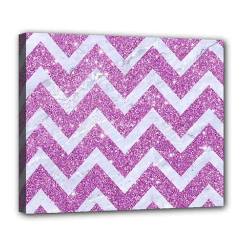 Chevron9 White Marble & Purple Glitter Deluxe Canvas 24  X 20