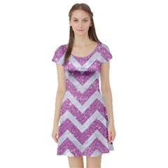 Chevron9 White Marble & Purple Glitter Short Sleeve Skater Dress