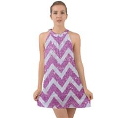 Chevron9 White Marble & Purple Glitter Halter Tie Back Chiffon Dress