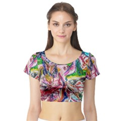Budha Denied The Shine Of The World Short Sleeve Crop Top