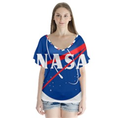 Nasa Logo V Neck Flutter Sleeve Top