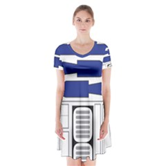 R2 Series Astromech Droid Short Sleeve V Neck Flare Dress