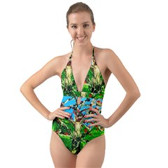 Coral Tree 2 Halter Cut Out One Piece Swimsuit