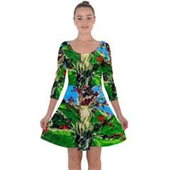 Coral Tree 2 Quarter Sleeve Skater Dress