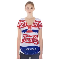 Pepsi Cola Bottle Cap Style Metal Short Sleeve Front Detail Top