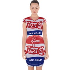 Pepsi Cola Bottle Cap Style Metal Capsleeve Drawstring Dress