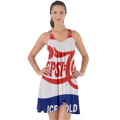 Pepsi Cola Bottle Cap Style Metal Show Some Back Chiffon Dress