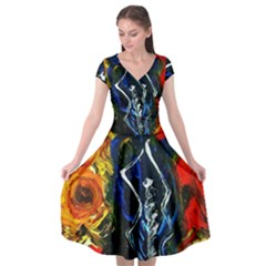1 Butterfly 1 Cap Sleeve Wrap Front Dress