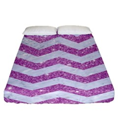 Chevron3 White Marble & Purple Glitter Fitted Sheet (queen Size) by trendistuff