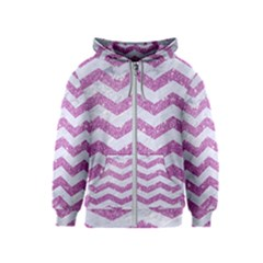 Chevron3 White Marble & Purple Glitter Kids  Zipper Hoodie