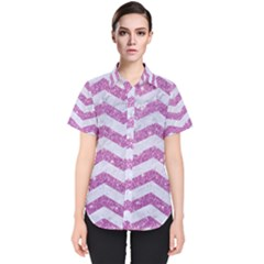 Chevron3 White Marble & Purple Glitter Women s Short Sleeve Shirt